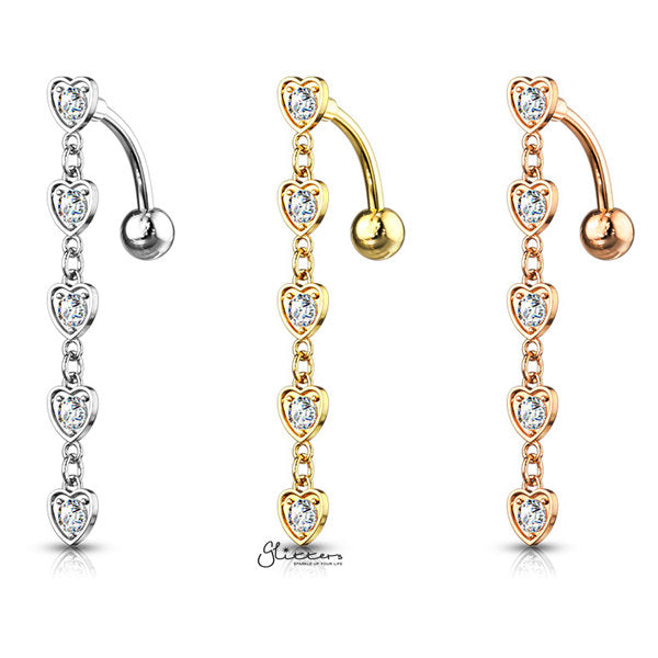 Five Crystal Set Center Hearts Vertical Drop Belly Button Navel Rings-Glitters-New Zealand