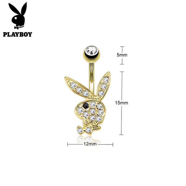 Clear Crystal Paved Playboy Bunny Belly Button Navel Ring - Gold-Belly Rings-Glitters