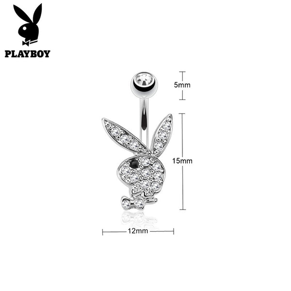 Clear Crystal Paved Playboy Bunny Belly Button Navel Ring - Silver-Belly Rings-Glitters