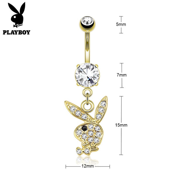Clear Crystal Paved Playboy Bunny Dangle Belly Button Navel Ring - Gold-Belly Rings-Glitters