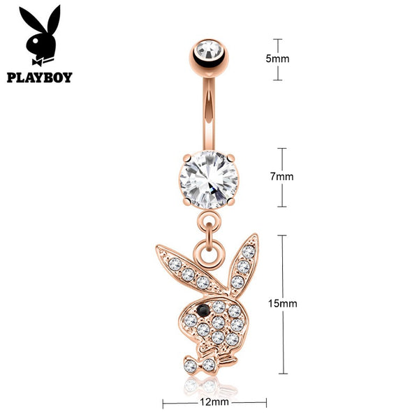 Clear Crystal Paved Playboy Bunny Dangle Belly Button Navel Ring - Rose Gold-Belly Rings-Glitters