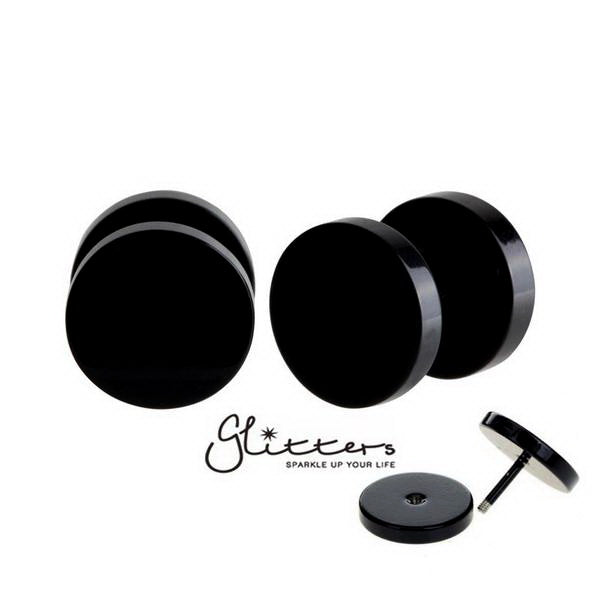 Black Titanium Ion Plated Over Stainless Steel Round Fake Plug-6mm | 8mm | 10mm-Glitters
