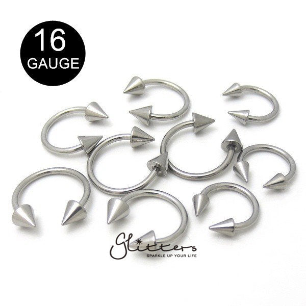 16Gauge Surgical Steel Horseshoe/Circular Barbells with Spike-Glitters-New Zealand