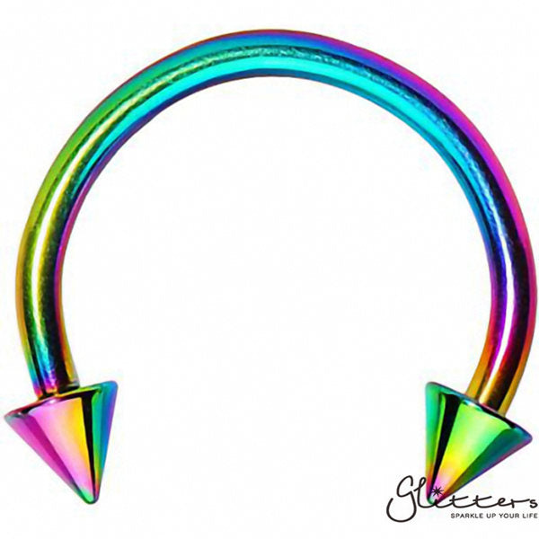 16 Gauge Rainbow Titanium Ion Plated Surgical Steel Horseshoe/Circular Barbells with Spike-Glitters