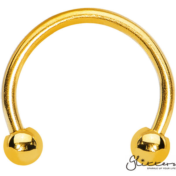 16 Gauge 18K Gold Ion Plated Surgical Steel Horseshoe/Circular Barbells with Ball-Glitters-New Zealand