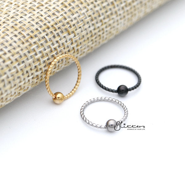 18GA Surgical Steel Twisted Rope Captive Bead Rings-Silver | Gold | Black-Glitters-New Zealand