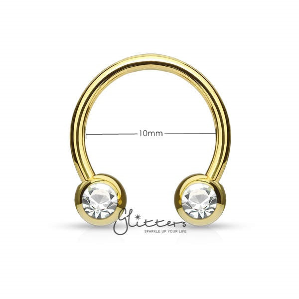 Surgical Steel Front Facing Jewel Set Balls Circular/Horseshoes-Gold-Glitters-New Zealand