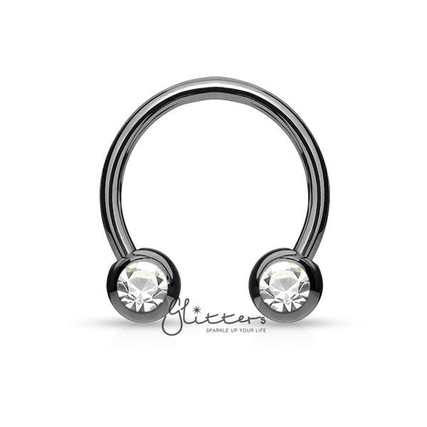 Surgical Steel Front Facing Jewel Set Balls Horseshoes Circular Barbell-Black-Glitters