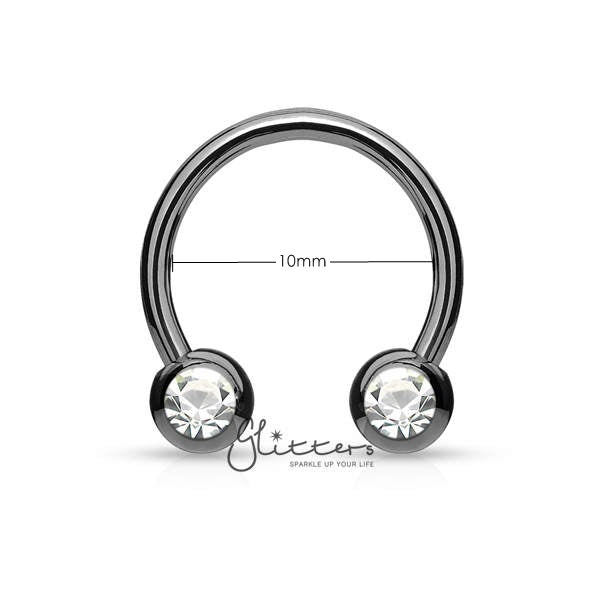 Surgical Steel Front Facing Jewel Set Balls Horseshoes Circular Barbell-Black-Glitters-New Zealand