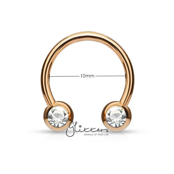 Surgical Steel Front Facing Jewel Set Balls Horseshoes Circular Barbell-Rose Gold-Glitters-New Zealand