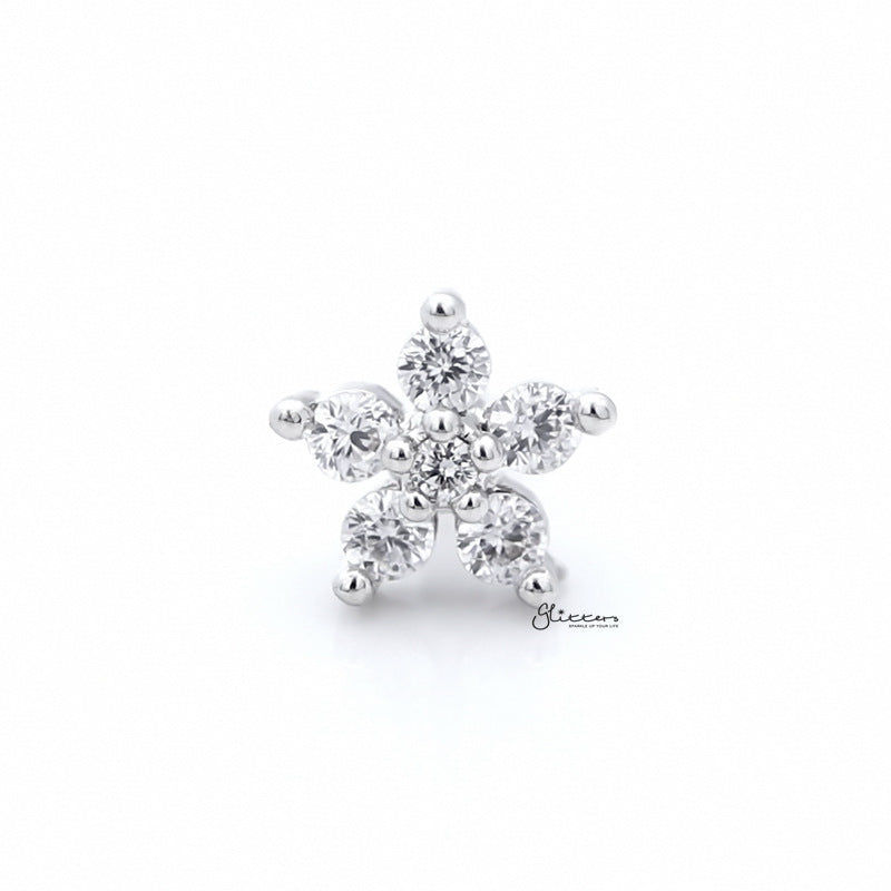 CZ Flower Cartilage Tragus Piercing Earring - Silver-Tragus Barbell-Glitters