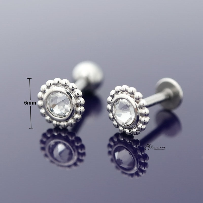 Clear Crystal Tragus Cartilage Earring - Ball End | Flat Back-Tragus Barbell-Glitters