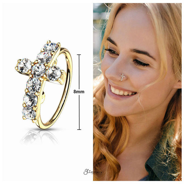 CZ Paved Cross Top Bendable Hoop Ring - Gold-Body Piercing-Glitters