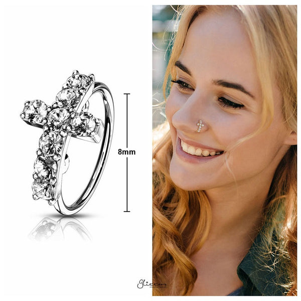 CZ Paved Cross Top Bendable Hoop Ring - Silver-Body Piercing-Glitters