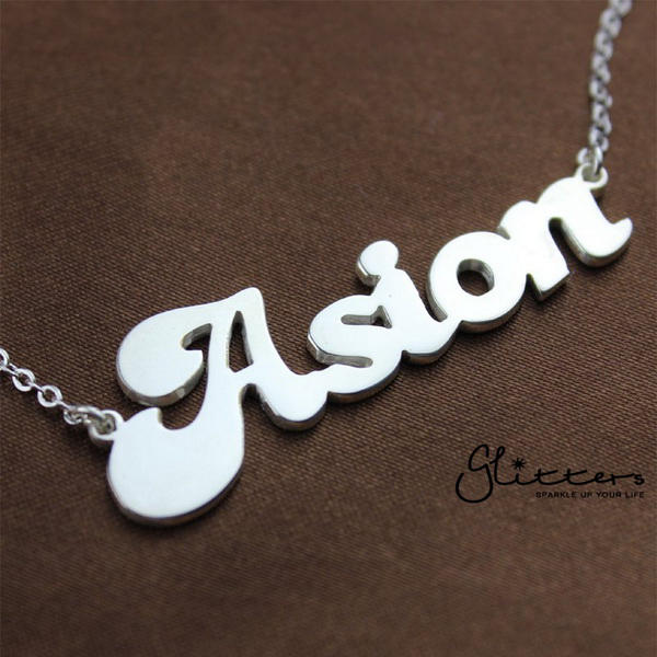 Personalized Sterling Silver Name Necklace-Font 3-Glitters-New Zealand