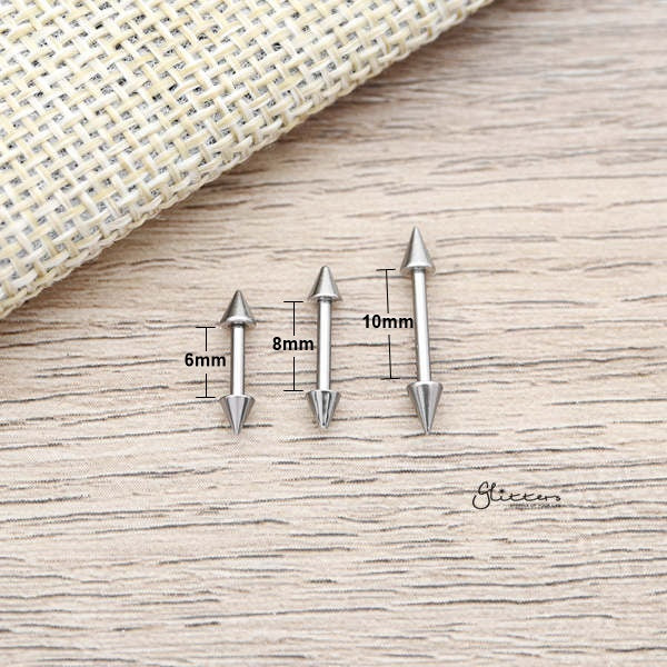 16Gauge 316L Surgical Steel Straight Barbells with Spikes-6mm|8mm|10mm-Glitters-New Zealand