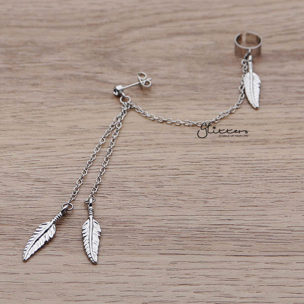 316L Surgical Steel Feather Dangles with Stud Chain Earring with End Clip-Glitters-New Zealand