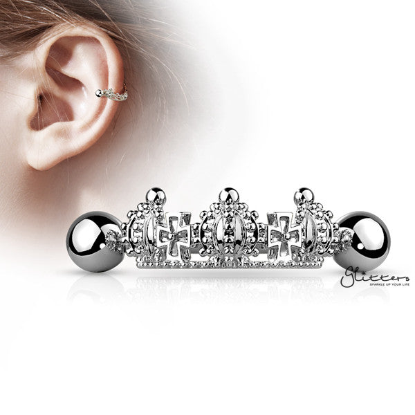 316L Surgical Steel Barbell with Triple Crown Helix Cuff-Glitters-New Zealand