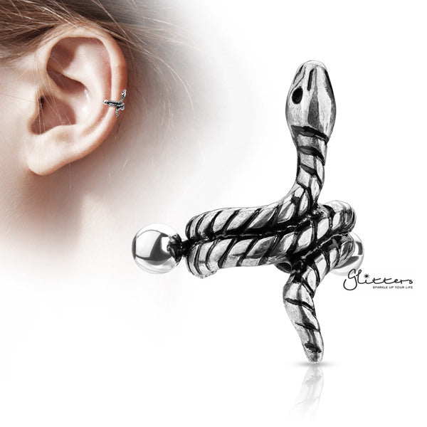 316L Surgical Steel Barbell with Coiled Snake Helix Cuff-Glitters-New Zealand