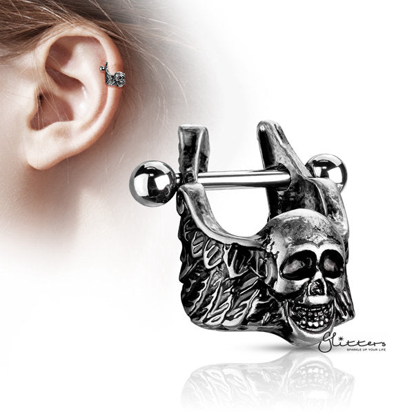 316L Surgical Steel Barbell with Skull with Winged Sides Helix Cuff-Glitters-New Zealand