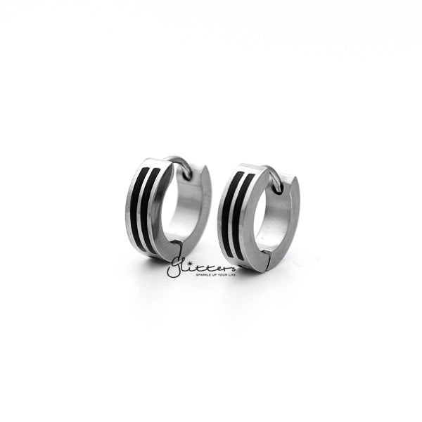 Stainless Steel Two Black Lines Huggie Hoop Men's Earrings
