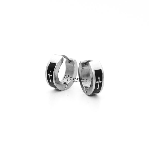 Stainless Steel Two Tone Cross Huggie Hoop Men's Earrings