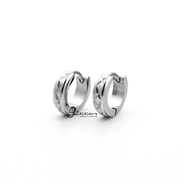 Stainless Steel Hinged Hoop Earrings with Dia-Cut and Grooved Center