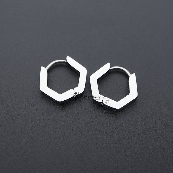 Stainless Steel Hexagon Huggie Hoop Men's Earrings-Glitters-New Zealand
