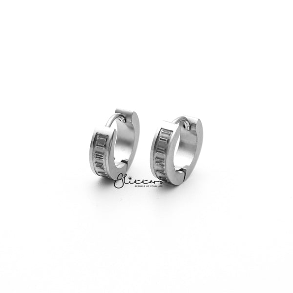 Stainless Steel Hinged Hoop Earrings with Roman Numerals Center