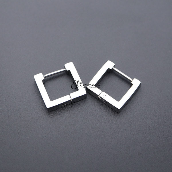 Stainless Steel Square Huggie Hoop Men's Earrings