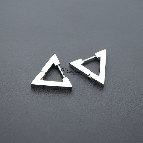 Stainless Steel Triangle Huggie Hoop Men's Earrings