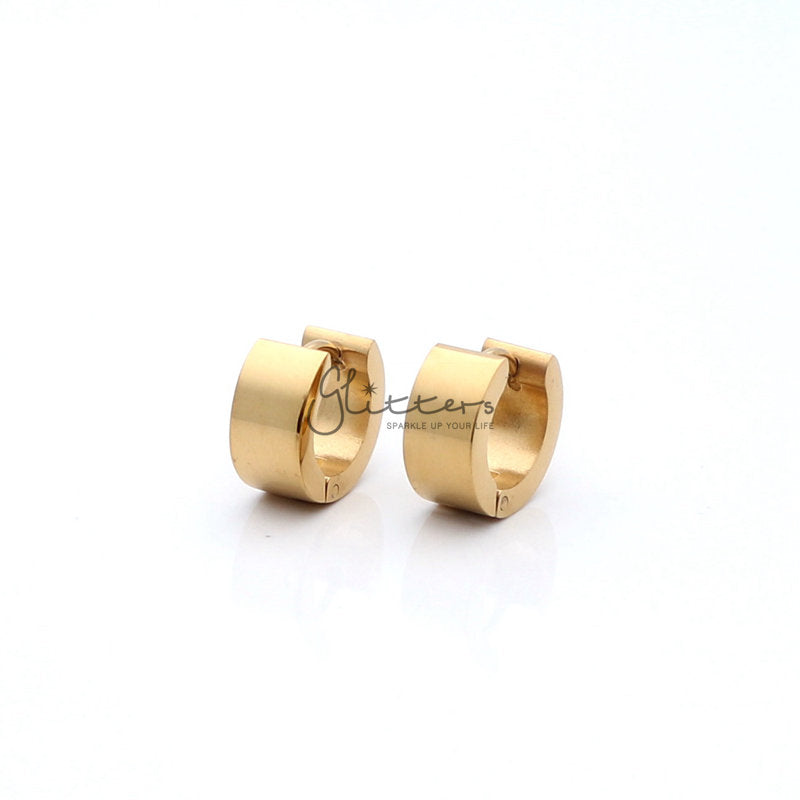 18K Gold IP Stainless Steel Huggie Hoop Earrings-Glitters-New Zealand