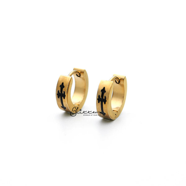 18K Gold IP Stainless Steel Huggie Hoop Earrings with Black Cross-Glitters-New Zealand