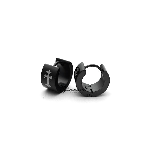 Black Titanium IP Stainless Steel Cross Huggie Hoop Earrings-Glitters-New Zealand