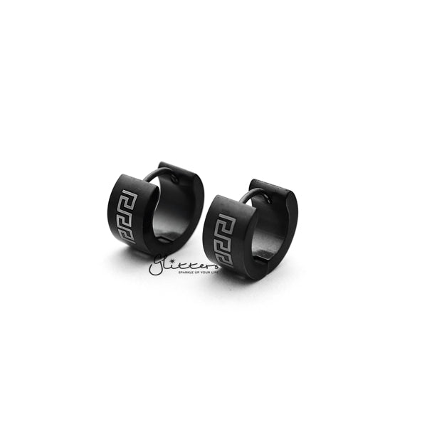Black Titanium IP Stainless Steel Greek Key Huggie Hoop Earrings-Glitters-New Zealand
