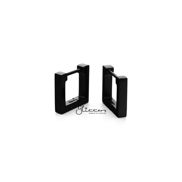 Black Titanium IP Stainless Steel Square Huggie Hoop Earrings-Glitters-New Zealand