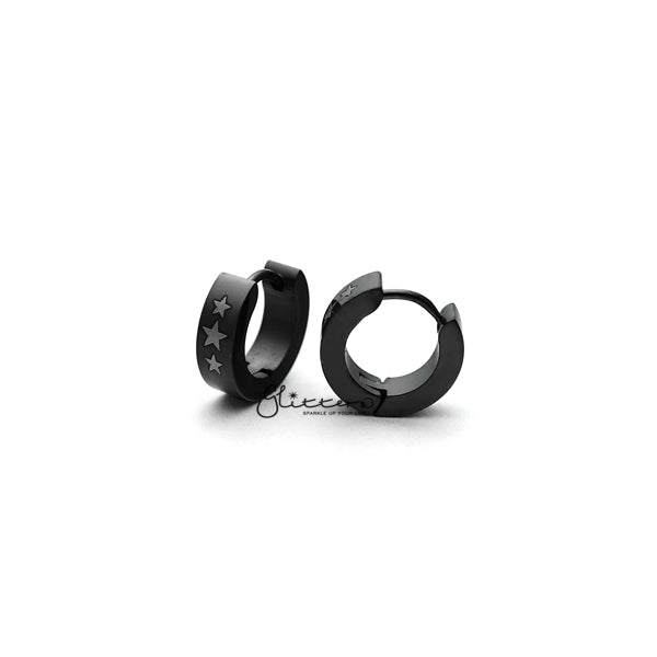 Black Titanium IP Stainless Steel 3 Stars Hinged Hoop Earrings-Glitters-New Zealand