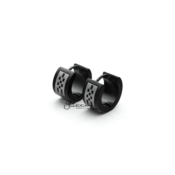 Black Titanium IP Stainless Steel Checkerboard Huggie Hoop Earrings-Glitters-New Zealand
