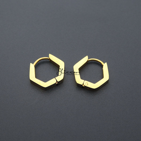 18K Gold IP Stainless Steel Hexagon Huggie Hoop Earrings-Glitters-New Zealand