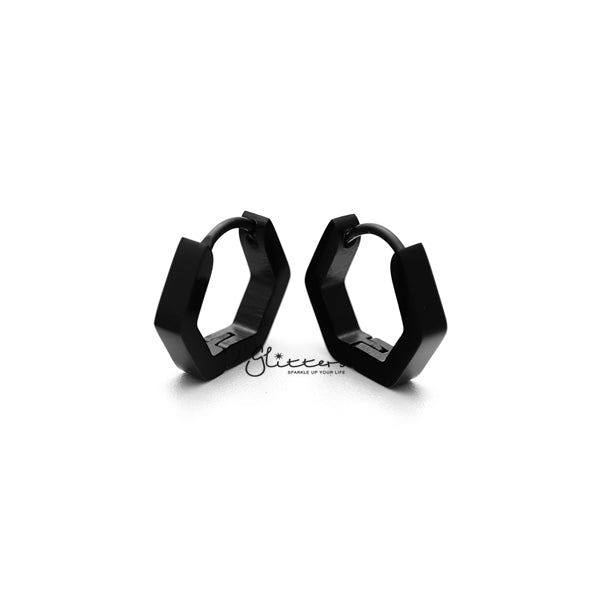 Black Titanium IP Stainless Steel Hexagon Huggie Hoop Earrings-Glitters-New Zealand