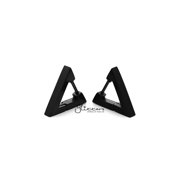 Black Titanium IP Stainless Steel Triangle Huggie Hoop Earrings