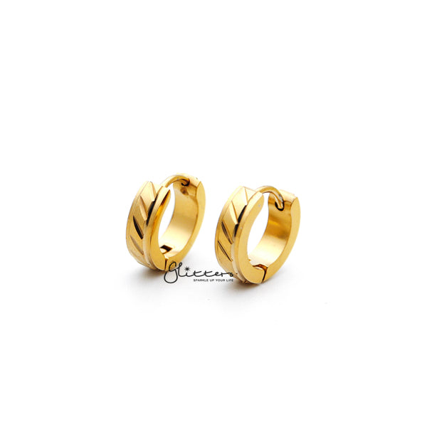 18K Gold IP Stainless Steel Dia-Cut Hinged Hoop Earrings with Step Edges-Glitters-New Zealand