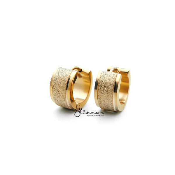 18K Gold IP Stainless Steel Hinged Sand Sparkle Center Hoop Earrings-Glitters-New Zealand