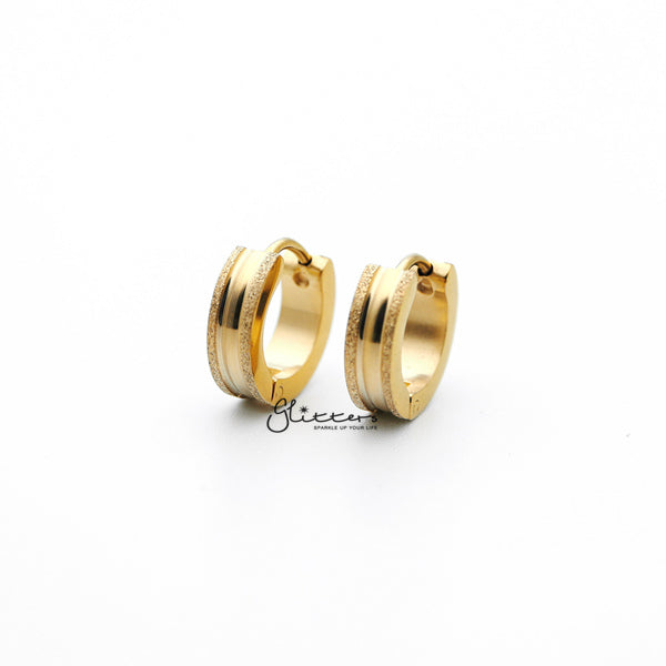 18K Gold IP Stainless Steel Hinged Hoop Earrings with Sand Sparkle Edges-Glitters-New Zealand