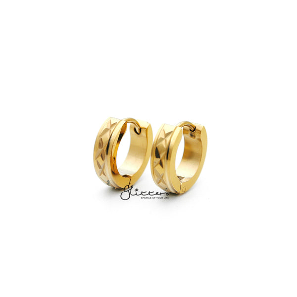 18K Gold IP Stainless Steel Hinged Hoop Earrings with X Dia-Cut-Glitters-New Zealand