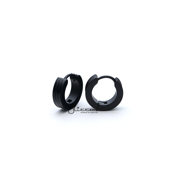 Stainless Steel Hinged Hoop Earrings with Grooves Carved Center - Black