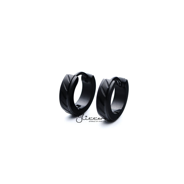 Black Titanium IP Stainless Steel Dia-Cut Hinged Hoop Earrings with Step Edges-Glitters-New Zealand