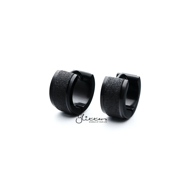 Black Titanium IP Stainless Steel Hinged Sand Sparkle Center Hoop Earrings-Glitters-New Zealand