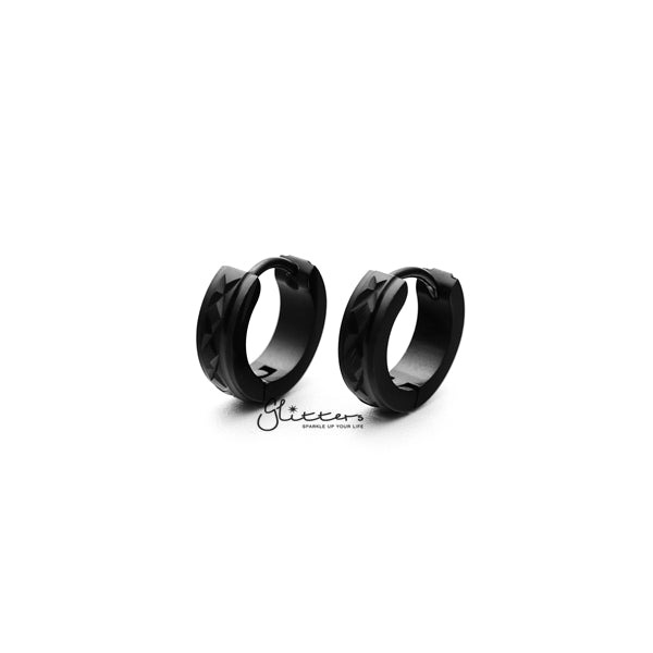 Black Titanium IP Stainless Steel Hinged Hoop Earrings with X Dia-Cut-Glitters-New Zealand
