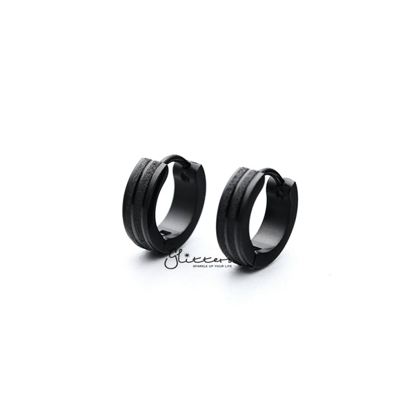 Black Titanium IP Stainless Steel Hinged Hoop Earrings with Sand Sparkle Lines-Glitters-New Zealand